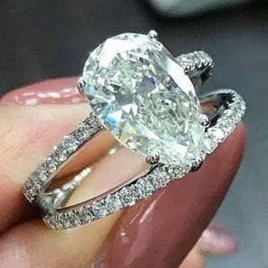 925 Silver White Sapphire Chic Party Ring